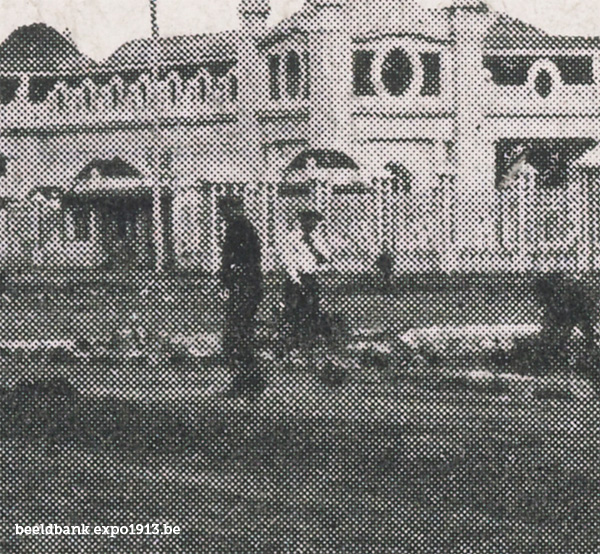 Expo 1913 in opbouw: Façade Principale - detail