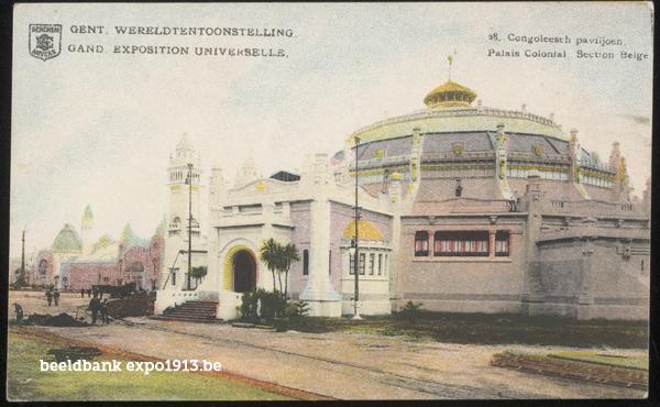 Expo 1913 in opbouw: Congoleesch paviljoen