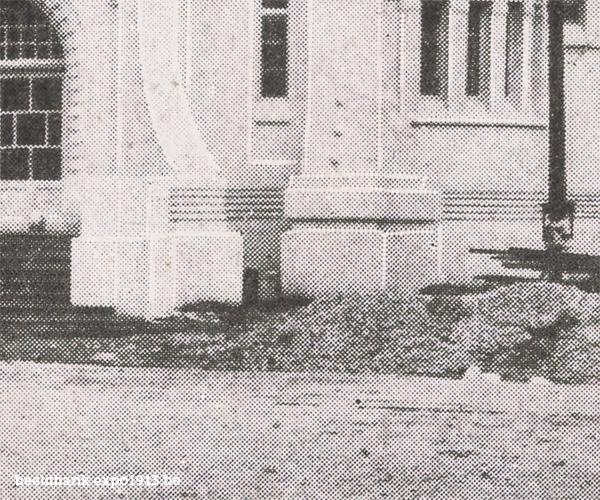 Expo 1913 in opbouw: Le Pavillon du Congo - detail