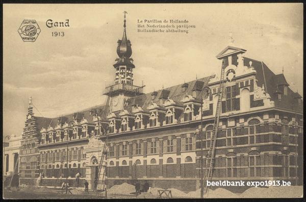 Expo 1913 in opbouw: Het Nederlandsch paviljoen