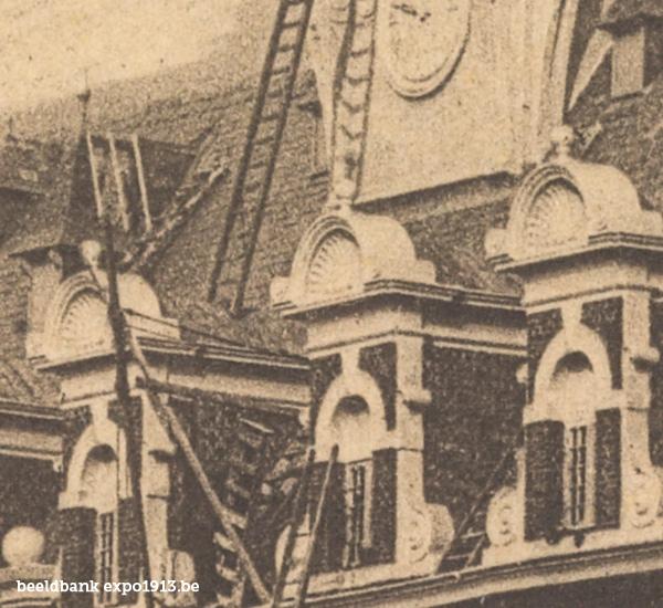 Expo 1913 in opbouw: Het Nederlandsch paviljoen - detail
