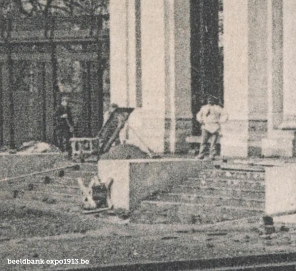Expo 1913 in opbouw: L'Entrée du Palais des Fêtes et de l'Horticulture - detail