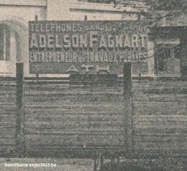 Expo 1913 in opbouw: Le Palais des Fêtes et de l'Horticulture - detail