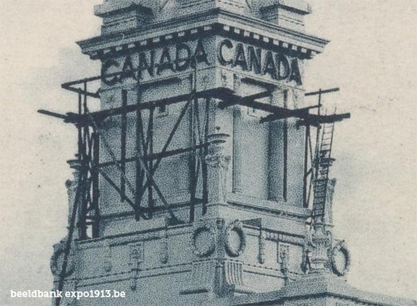 Expo 1913 in opbouw: Le Pavillon du Canada - detail