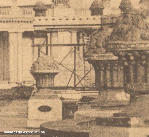 Expo 1913 in opbouw: Englische Afdeeling - detail