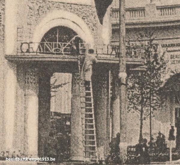 Expo 1913 in opbouw: Vue vers le Palais des Beaux-Arts - detail
