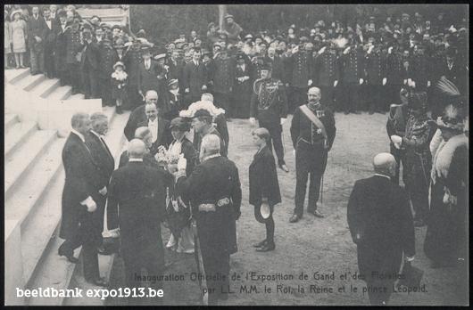 Inhuldiging: Officiële opening van de Wereldtentoonstelling van Gent en de Floraliën door Koning Albert, Koningin Elisabeth en Prins Leopold